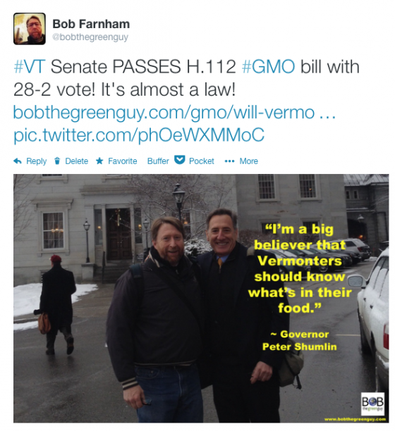 Vermont Senators Pass GMO Labeling Bill H.112