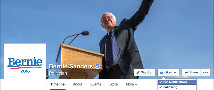 screenshot from Bernie's Facebook page