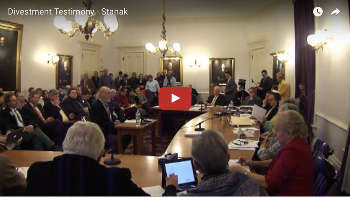 Ed Stanak Testifies in Support of Fossil Fuel Divestment
