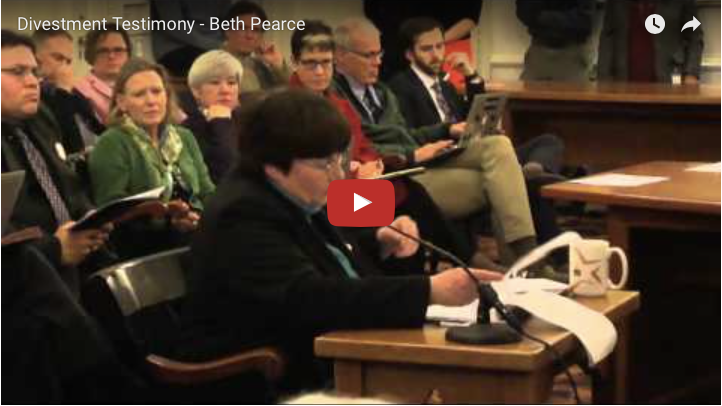 Beth Pearce Testifies About Fossil Fuel Divestment